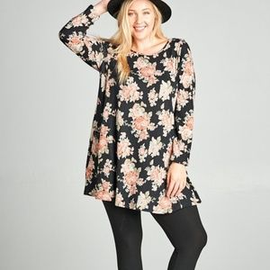 Hacci Floral Knit Tunic with Pockets NWOT
